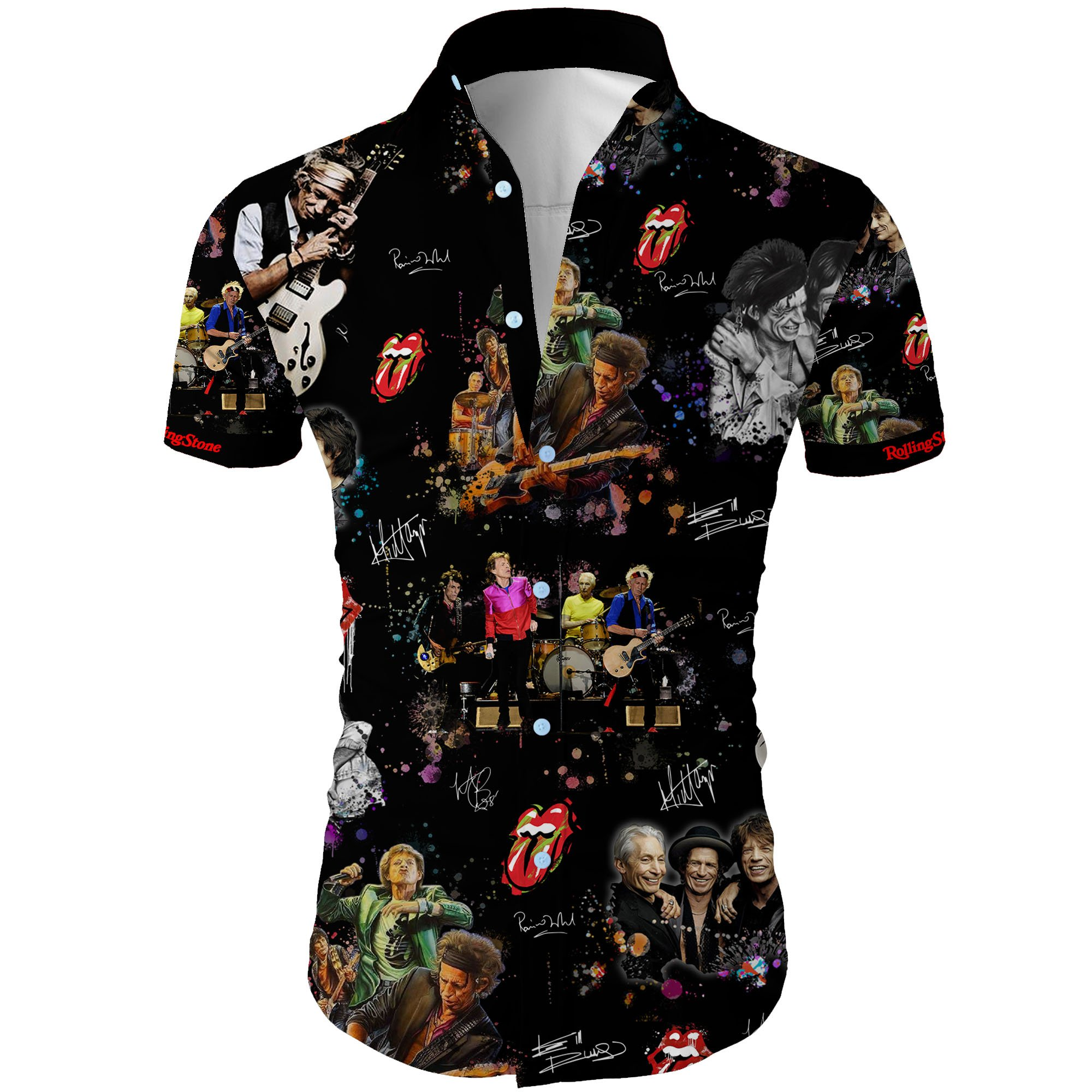The rolling stones all over printed hawaiian shirt 2