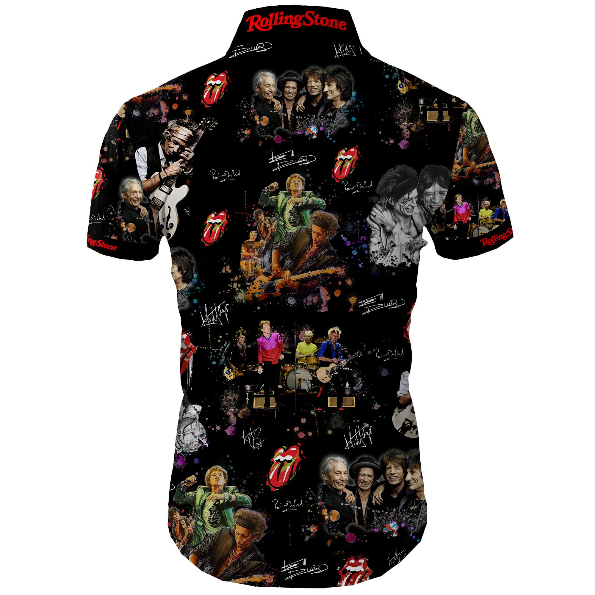 The rolling stones all over printed hawaiian shirt 3