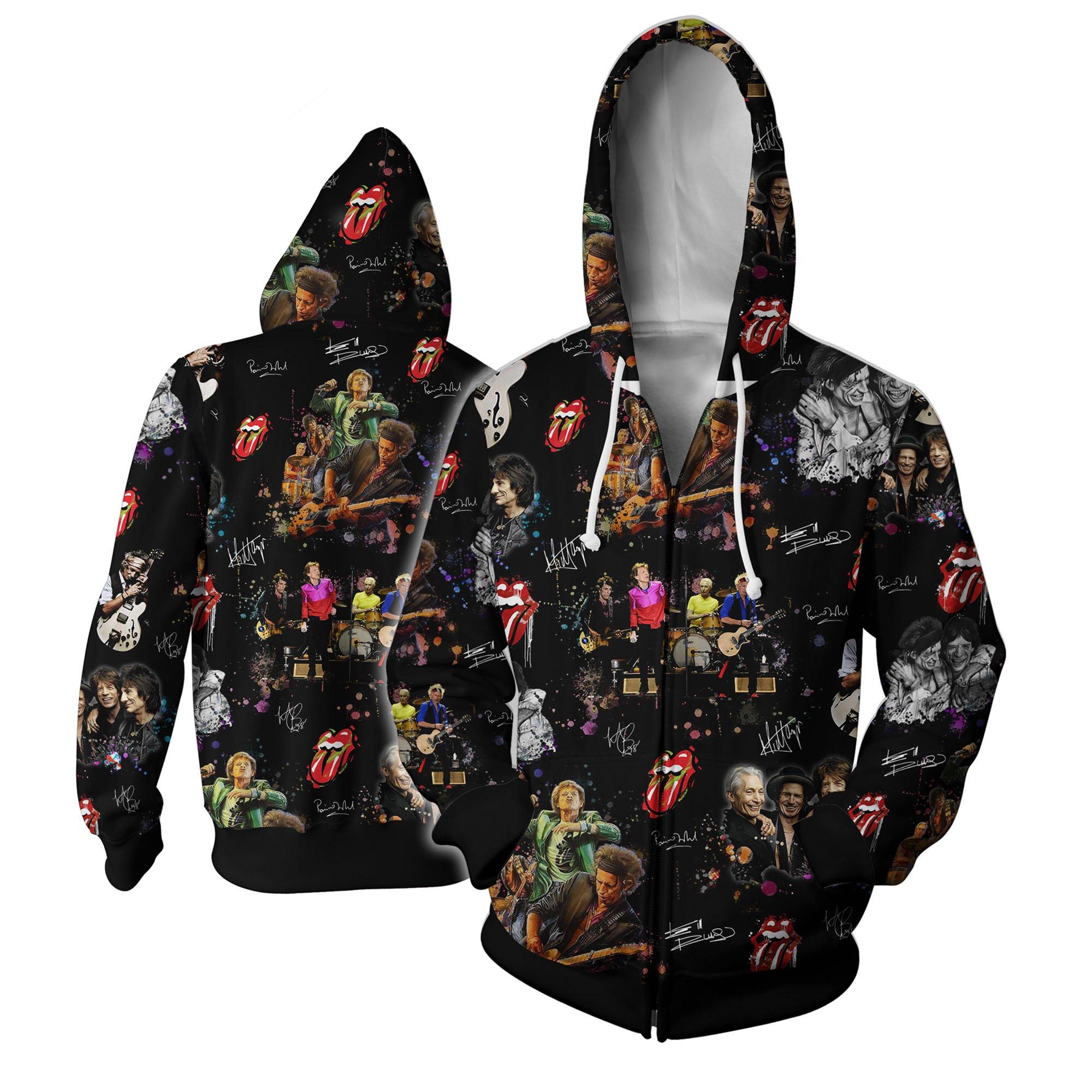 The rolling stones all over printed hawaiian zip hoodie