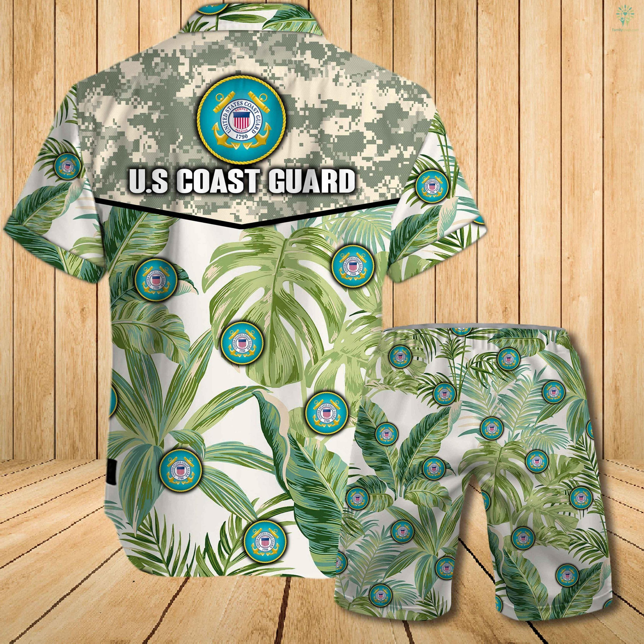 US coast guard all over printed hawaiian shirt 1