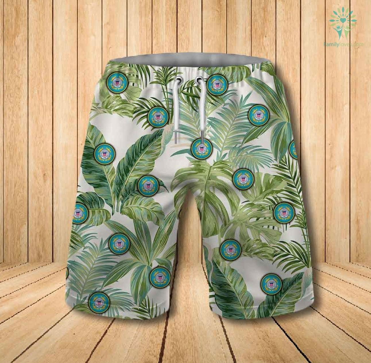 US coast guard all over printed hawaiian shorts