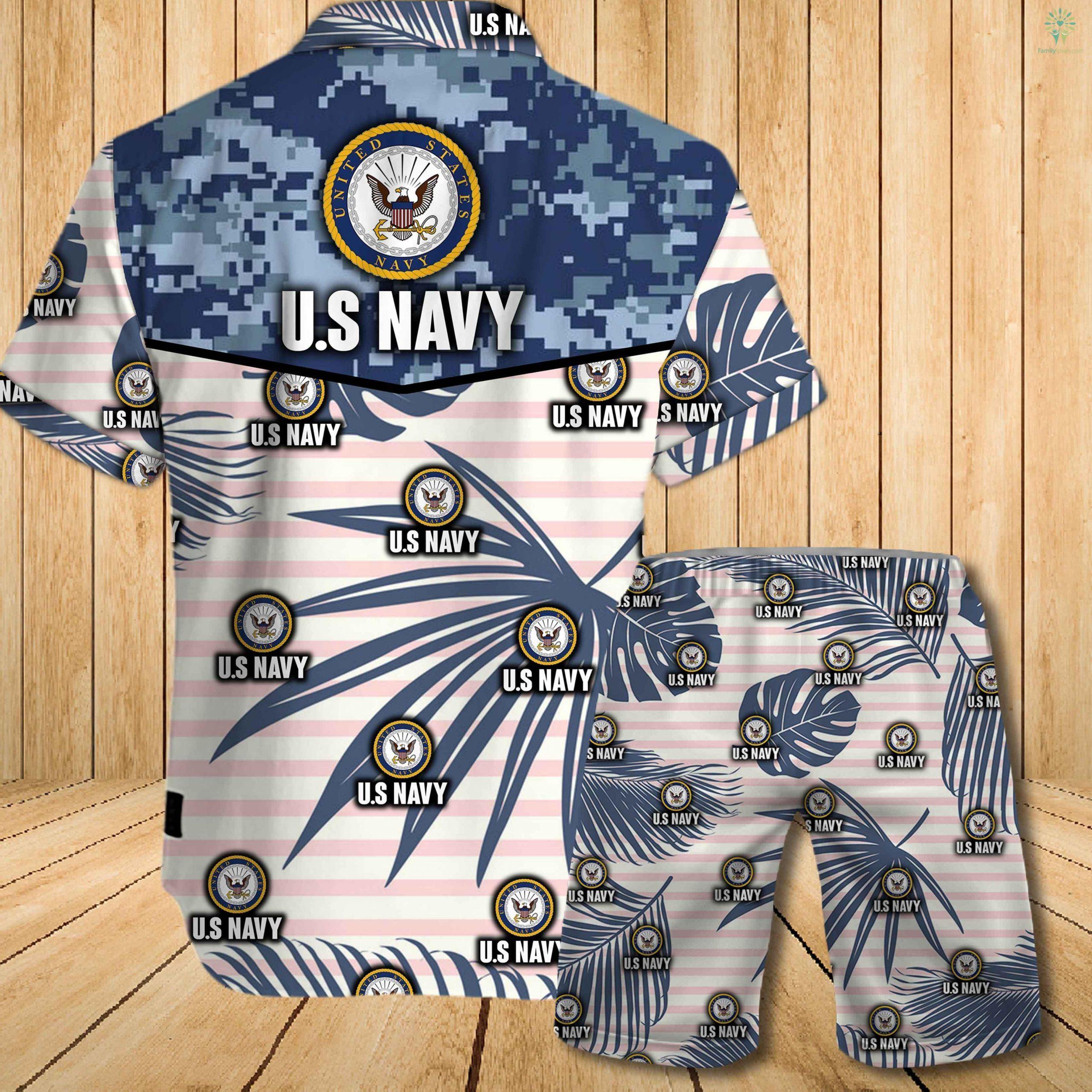 US navy all over printed hawaiian shirt 1