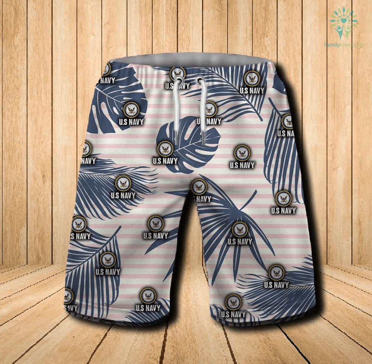 US navy all over printed hawaiian shorts 1