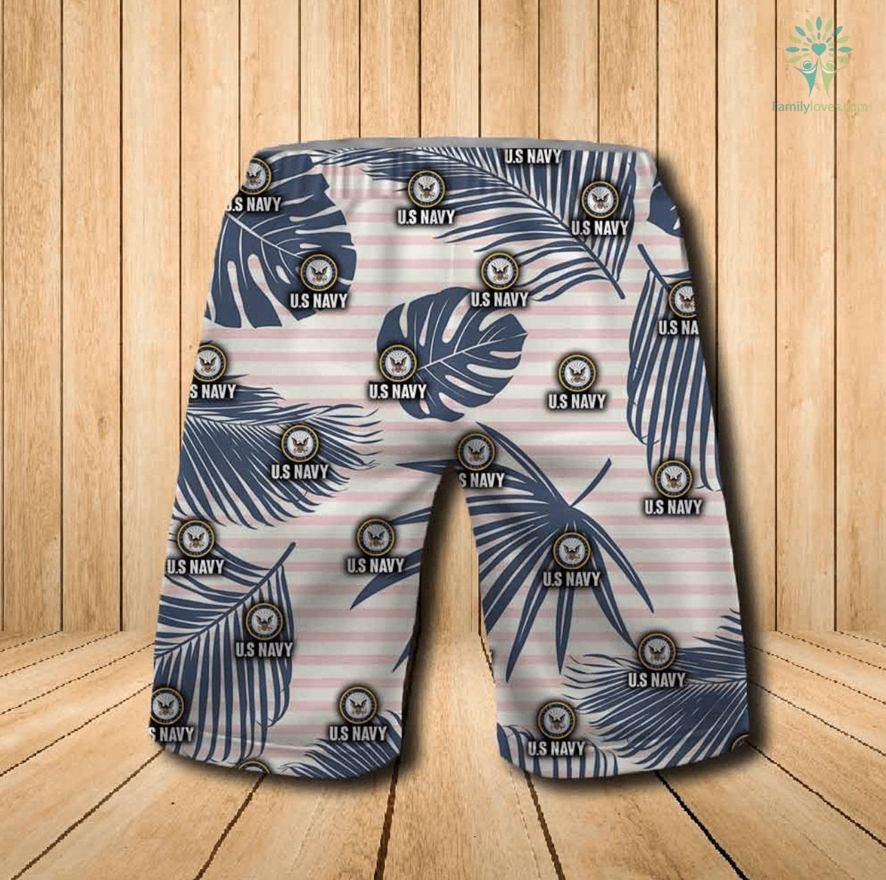 US navy all over printed hawaiian shorts