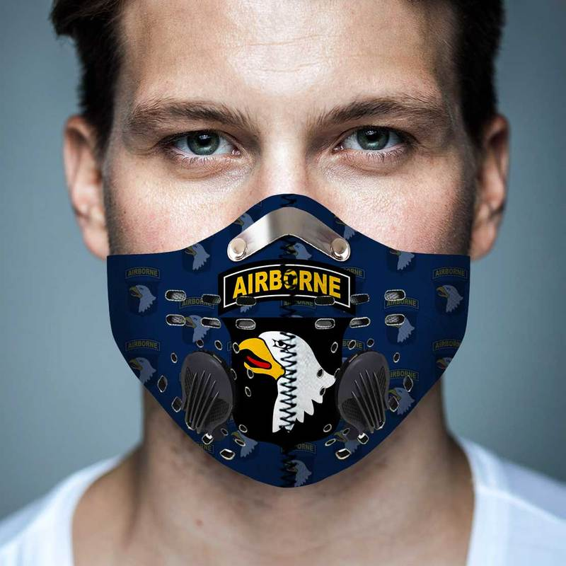 101st airborne division anti pollution filter activated carbon face mask 4