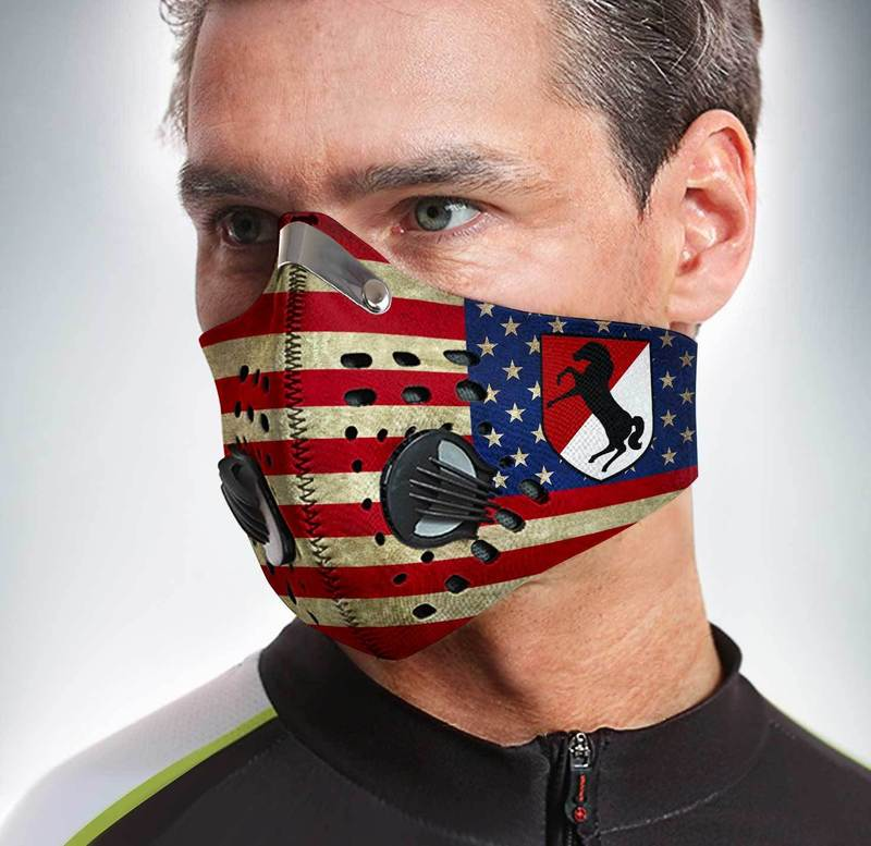 11th armored cavalry regiment american flag filter activated carbon face mask 2