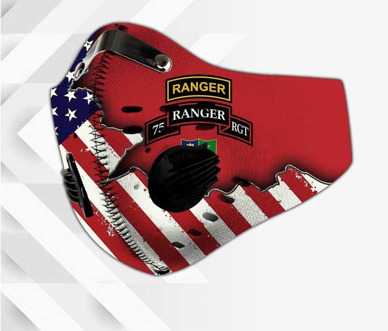 75th ranger regiment american flag filter activated carbon face mask 2
