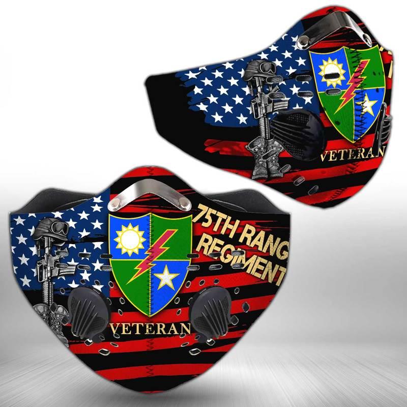 75th ranger regiment veteran american flag anti pollution face mask 2