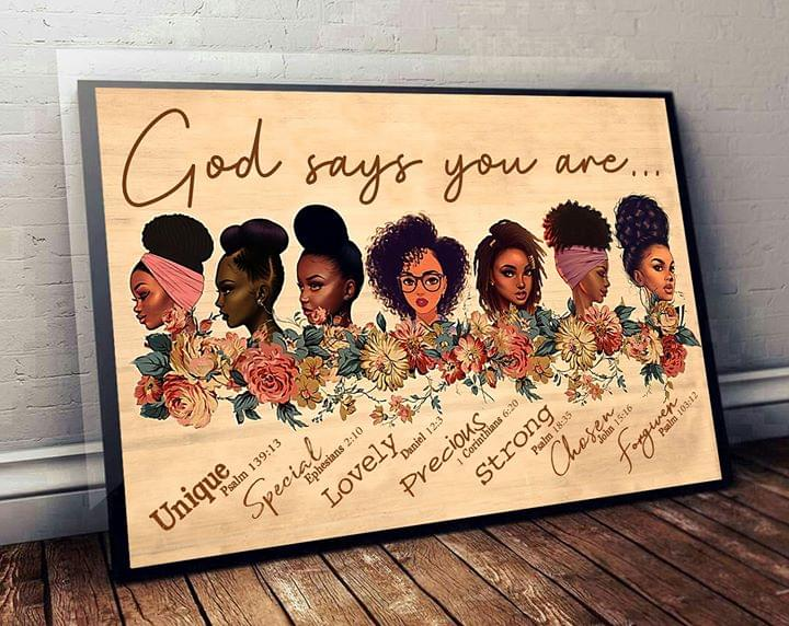African God says you are unique special lovely precious strong chose forgiven bible poster 1