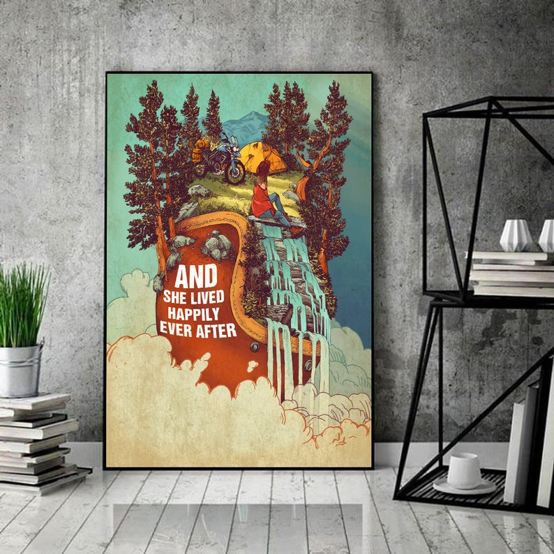 And she lived happily ever after camping vintage poster 1