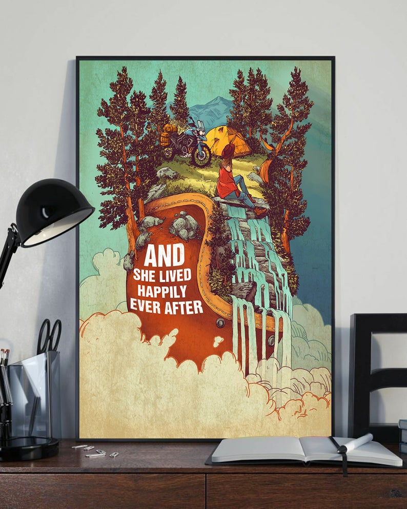 And she lived happily ever after camping vintage poster 4