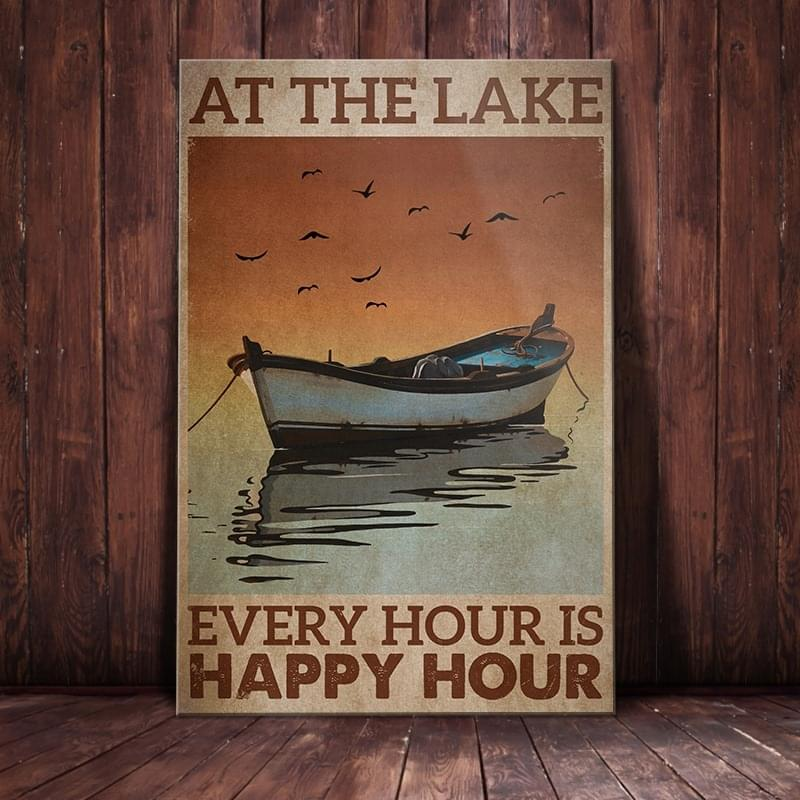 At the lake every hour is happy hour vintage poster 2