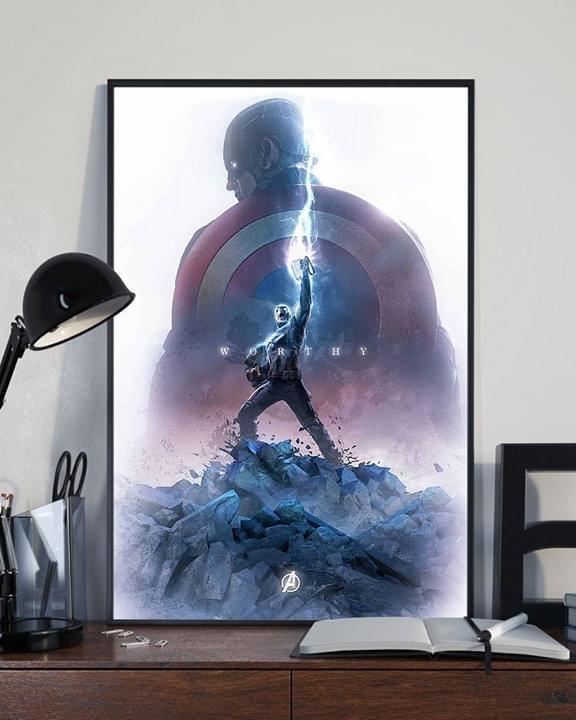 Avengers captain america use mjolnir hammer poster 1