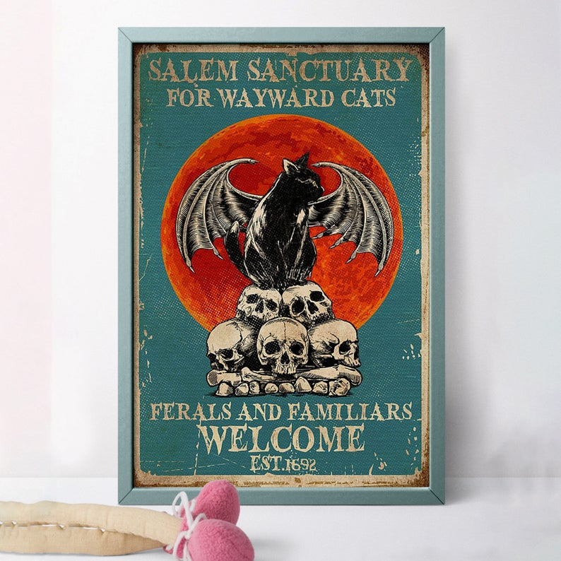 Black cat salem sanctury for wayward cats feral and familiar est 1962 halloween poster 3