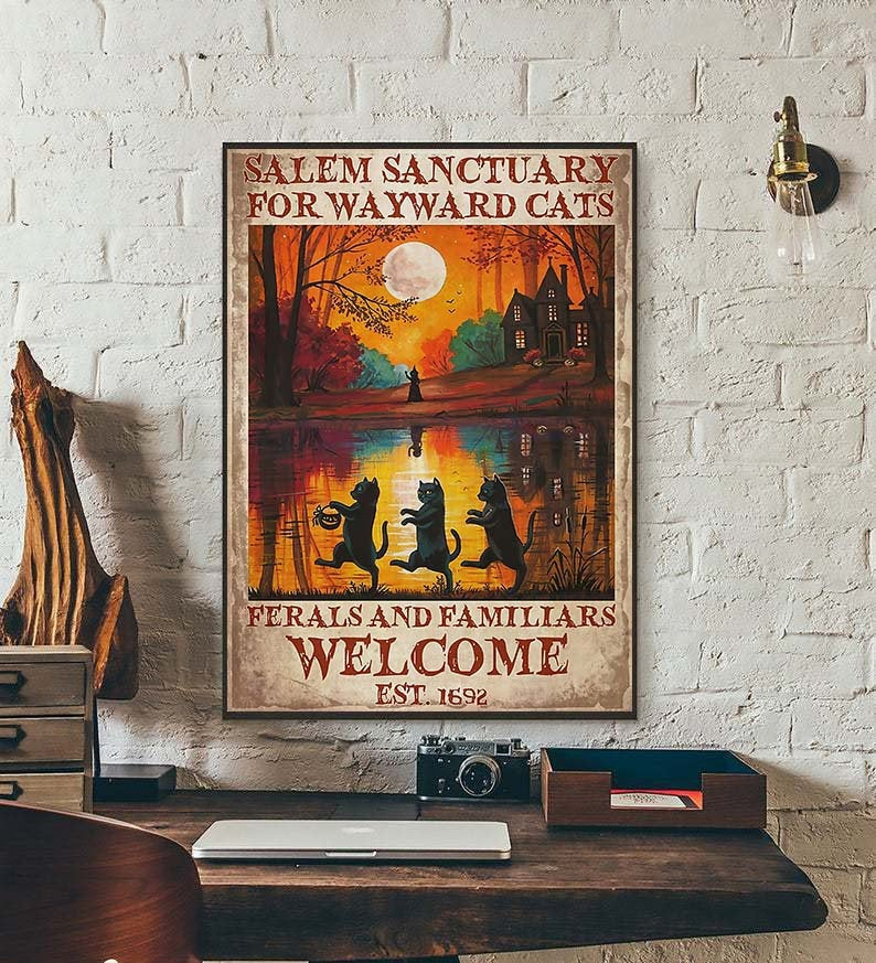 Black cat salem sanctury for wayward cats feral and familiar halloween poster 1