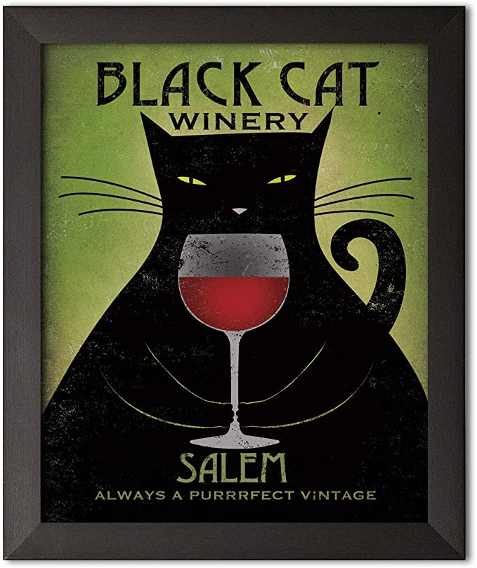 Black cat winery salem always a purrrfect vintage poster 1