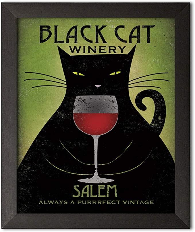 Black cat winery salem always a purrrfect vintage poster 2