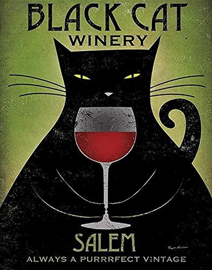 Black cat winery salem always a purrrfect vintage poster 3