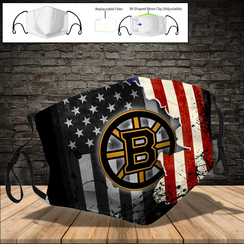 Boston bruins american flag full printing face mask 4