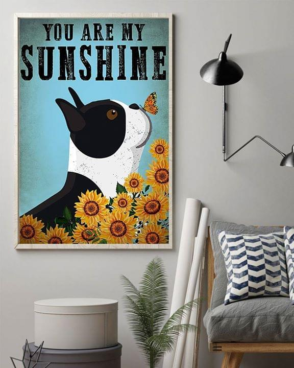 Boston terrier puppy with butterfly you are my sunshine poster 4