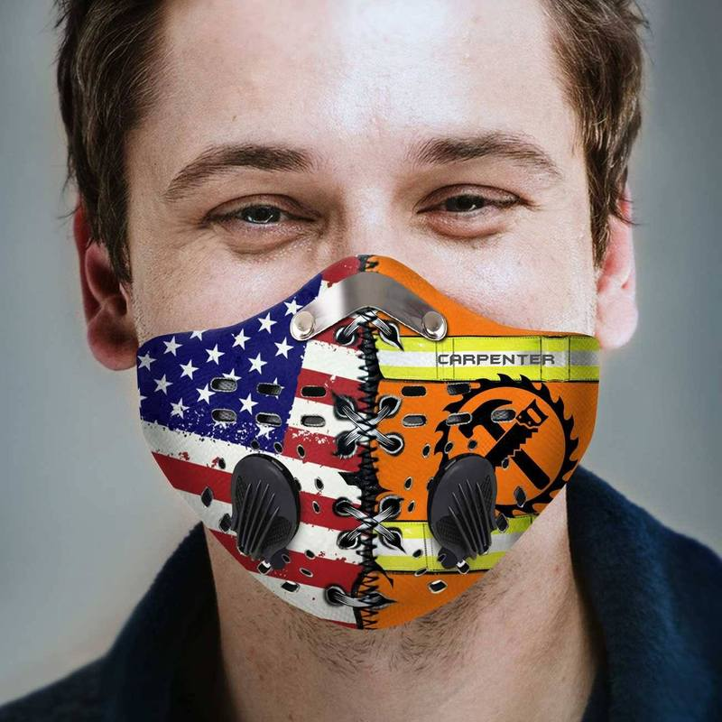 Carpenter american flag anti pollution filter activated carbon face mask 2