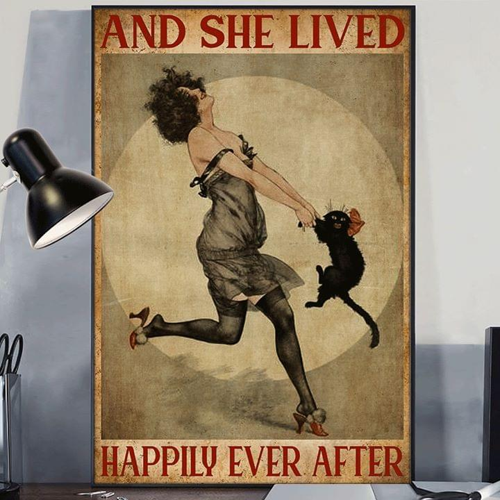 Cat and she lived happily ever after retro poster 4