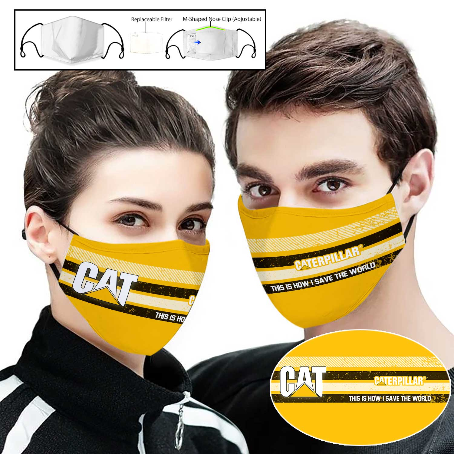 Caterpillar inc this is how i save the world full printing face mask 1