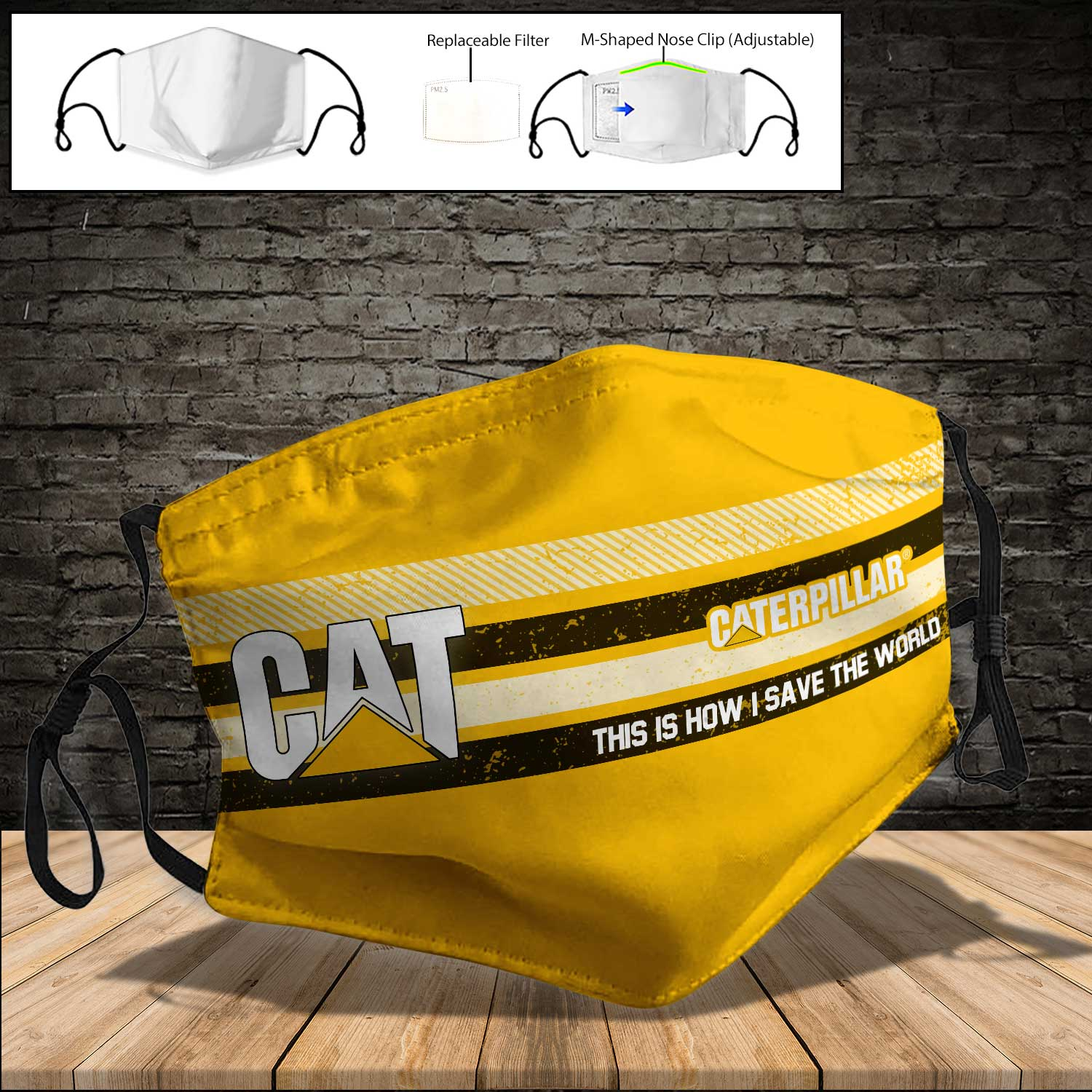 Caterpillar inc this is how i save the world full printing face mask 3