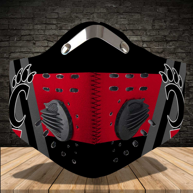 Cincinnati bearcats men's basketball carbon filter face mask 3