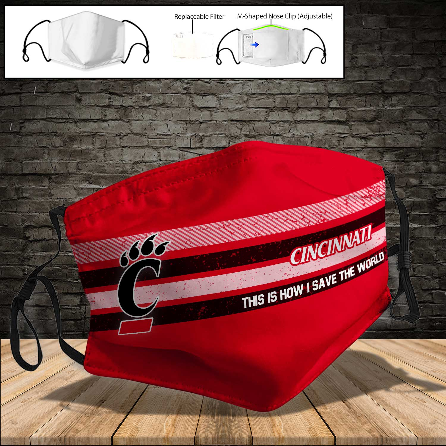 Cincinnati bearcats this is how i save the world full printing face mask 4