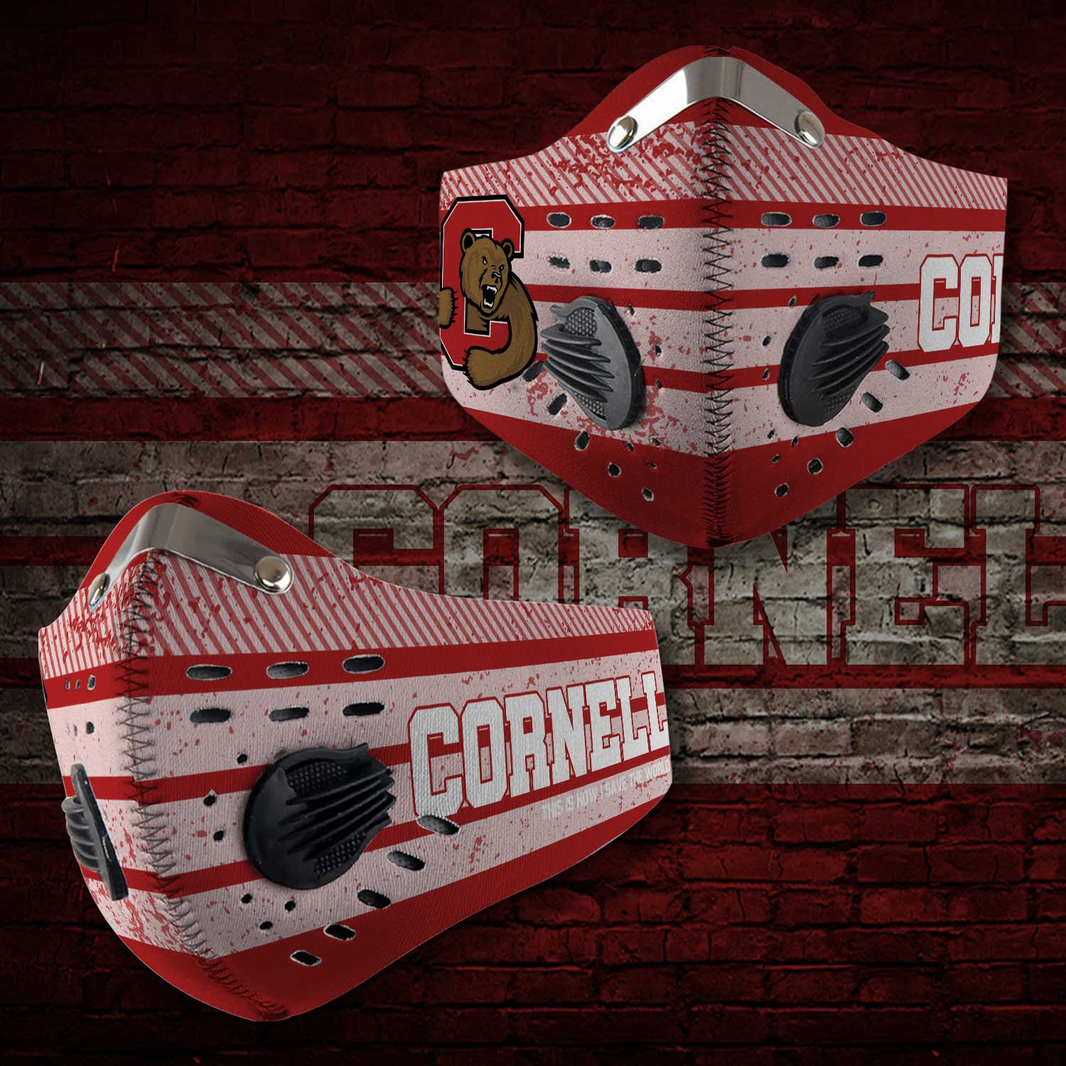 Cornell big red football this is how i save the world face mask 2