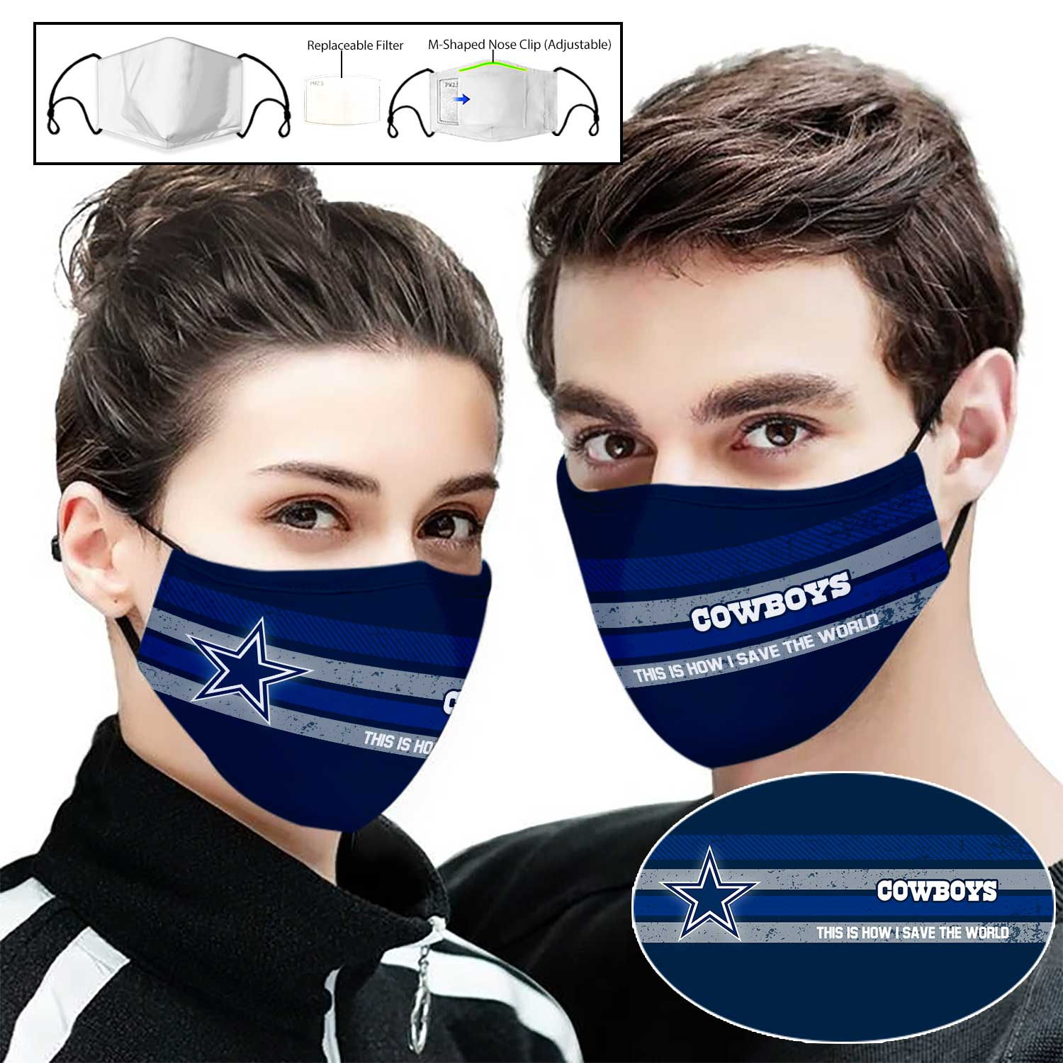 Dallas cowboys this is how i save the world full printing face mask 1