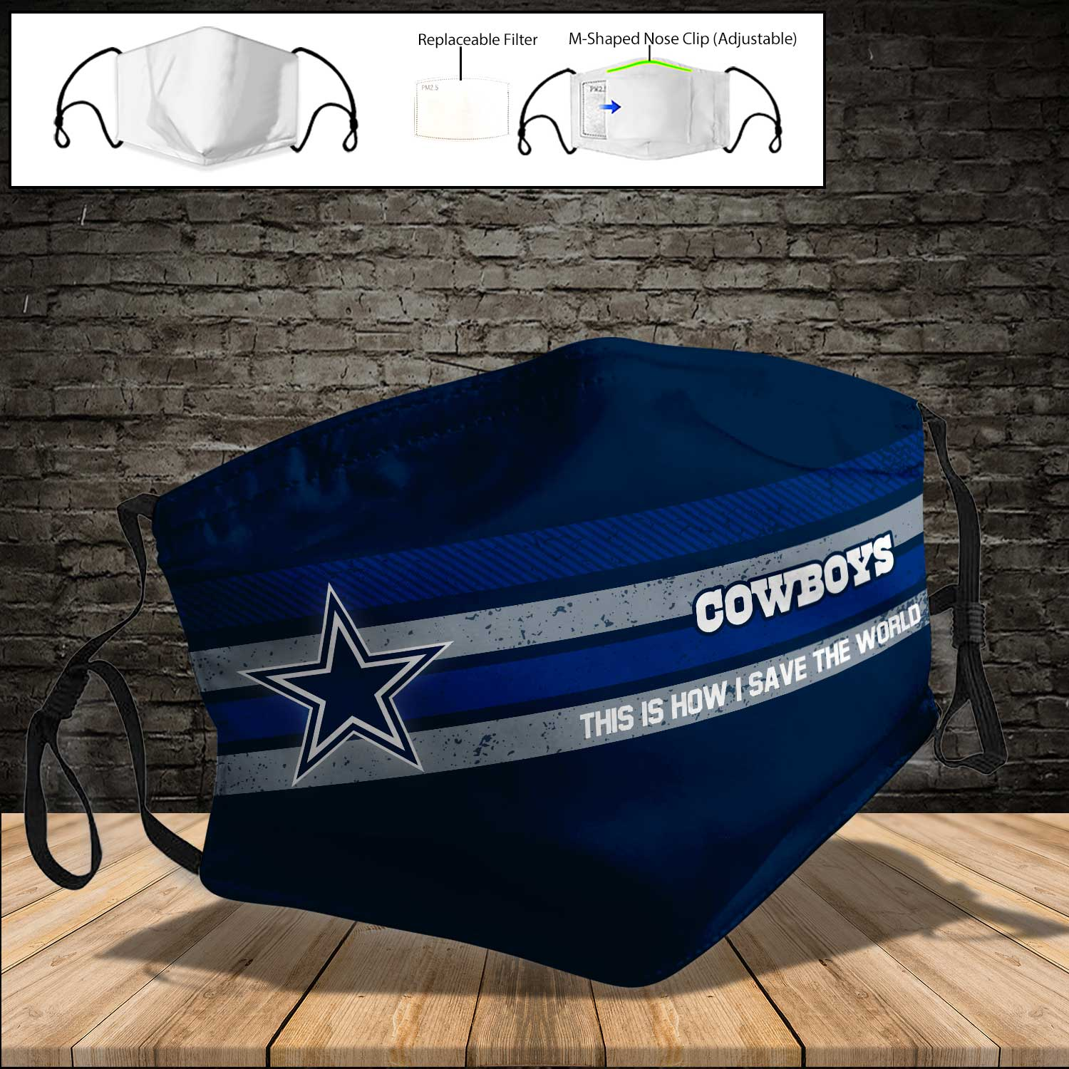 Dallas cowboys this is how i save the world full printing face mask 3