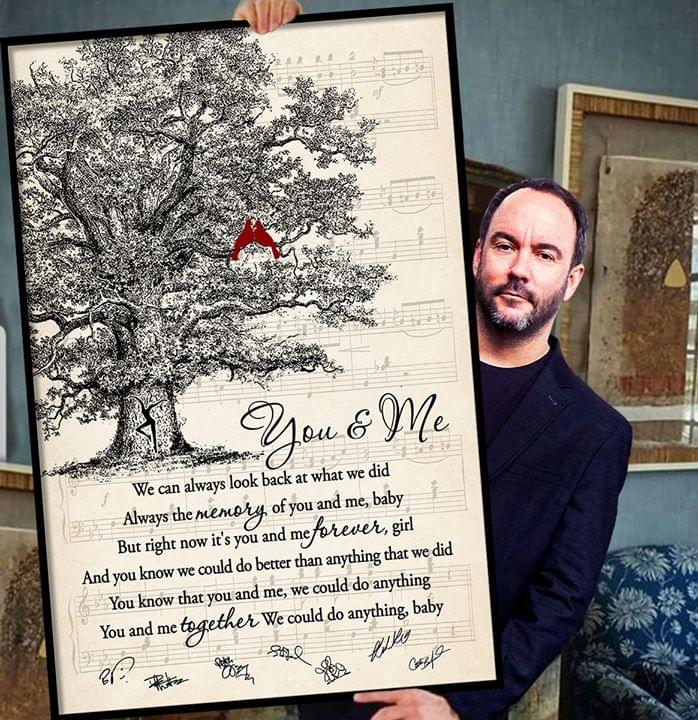 Dave matthews band you and me song lyric cardinals tree signed poster 3