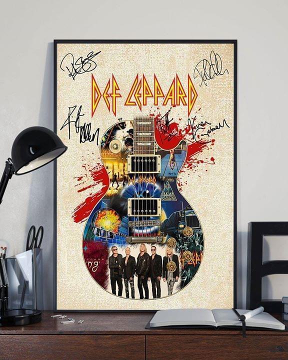 Def leppard members signatures guitar poster 4