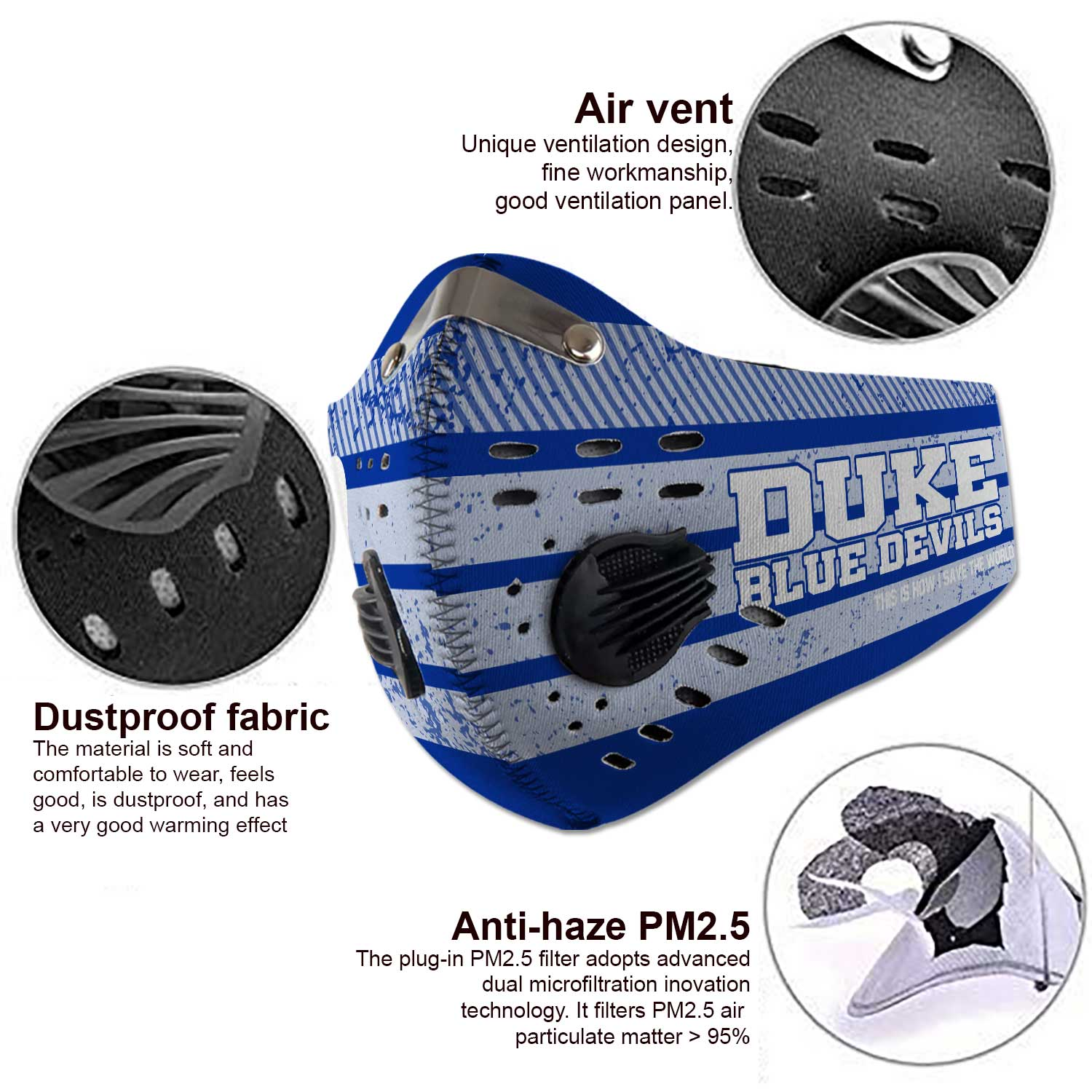 Duke blue devils men's basketball this is how i save the world face mask 3