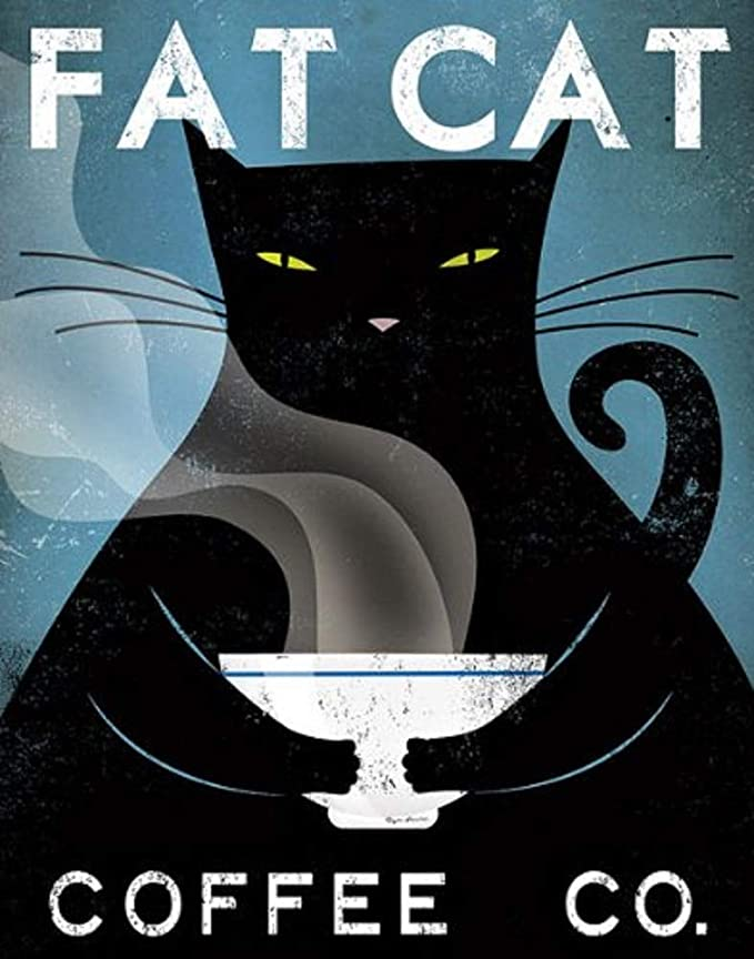Fat cat coffee cafe company black cat poster 1