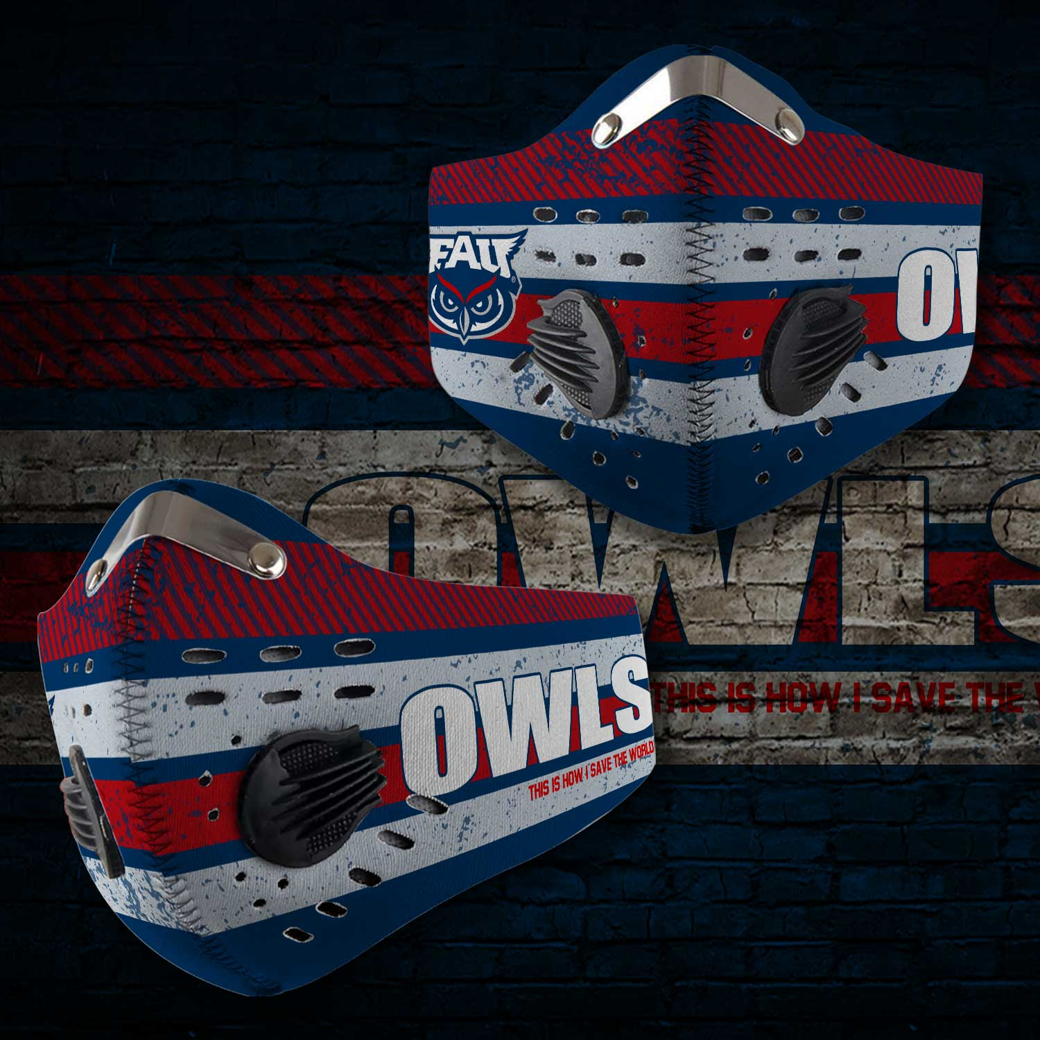 Florida atlantic owls this is how i save the world face mask 2