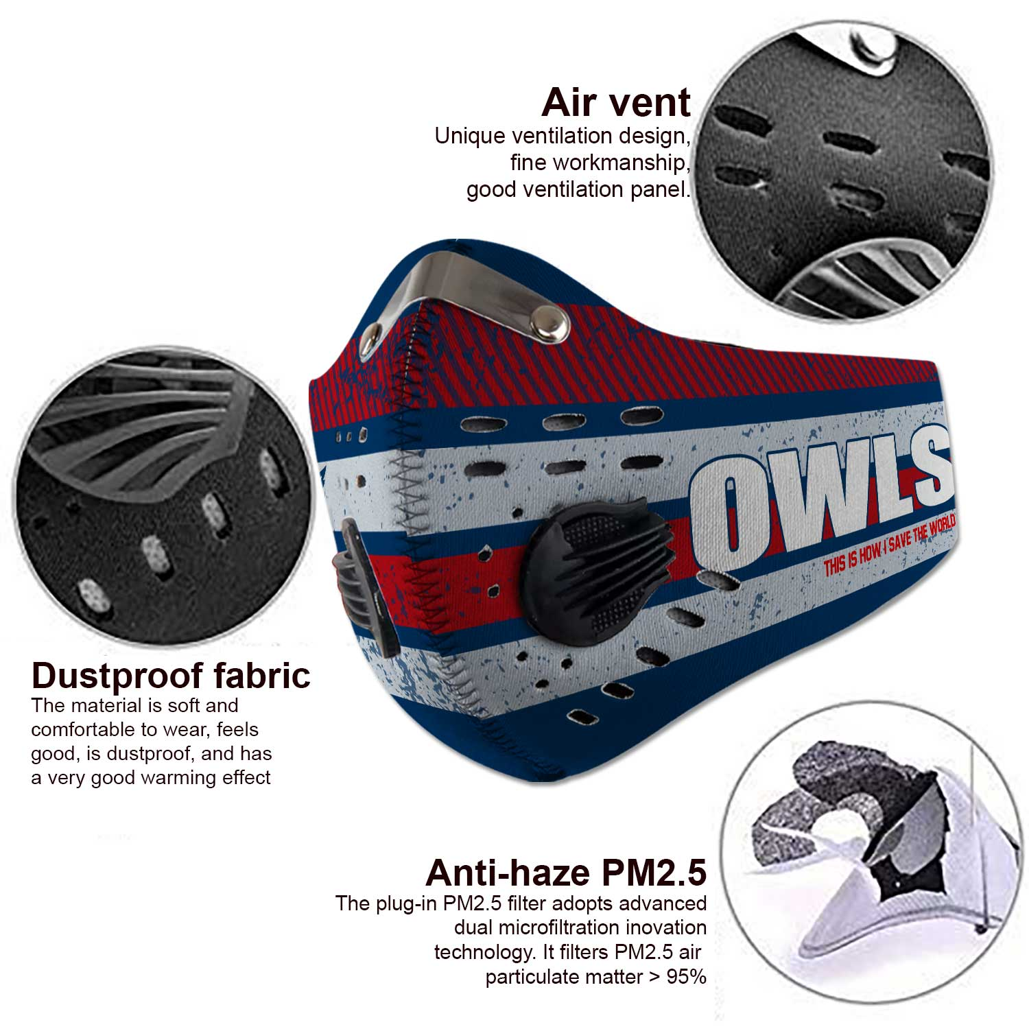 Florida atlantic owls this is how i save the world face mask 3