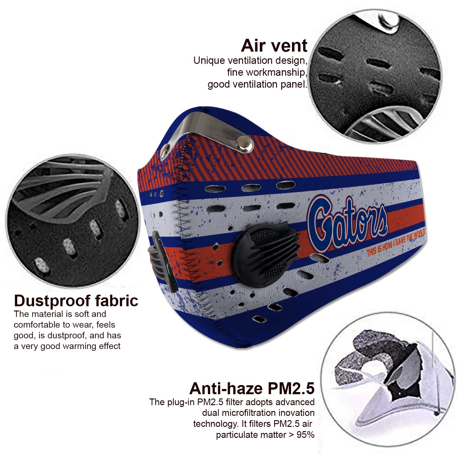 Florida gators this is how i save the world carbon filter face mask 4