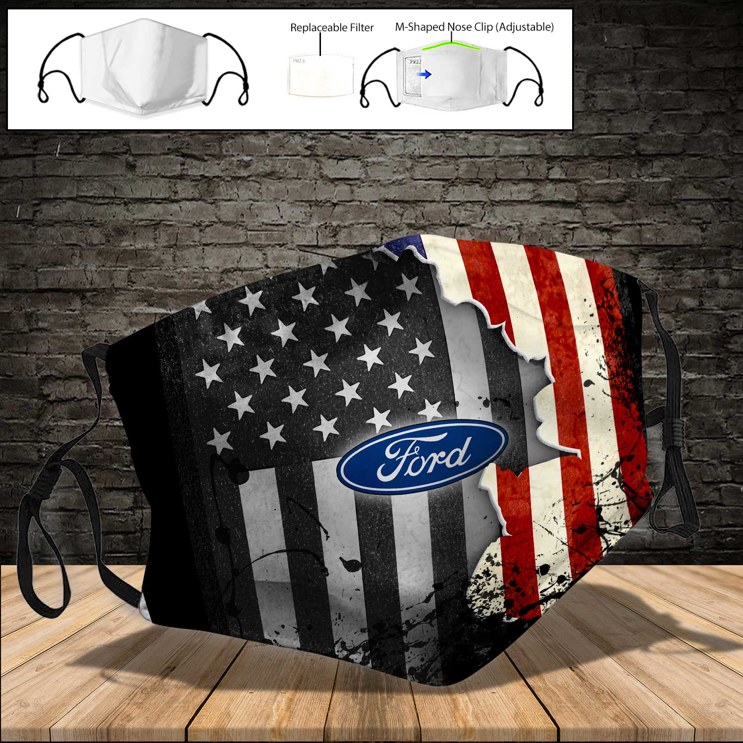 Ford american flag full printing face mask 3