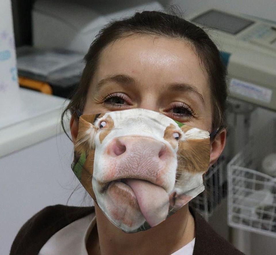 Funny face cow full printing face mask 3