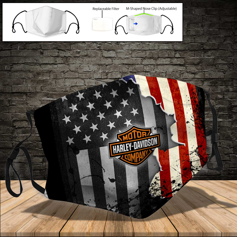 Harley-davidson motorcycle american flag full printing face mask 3