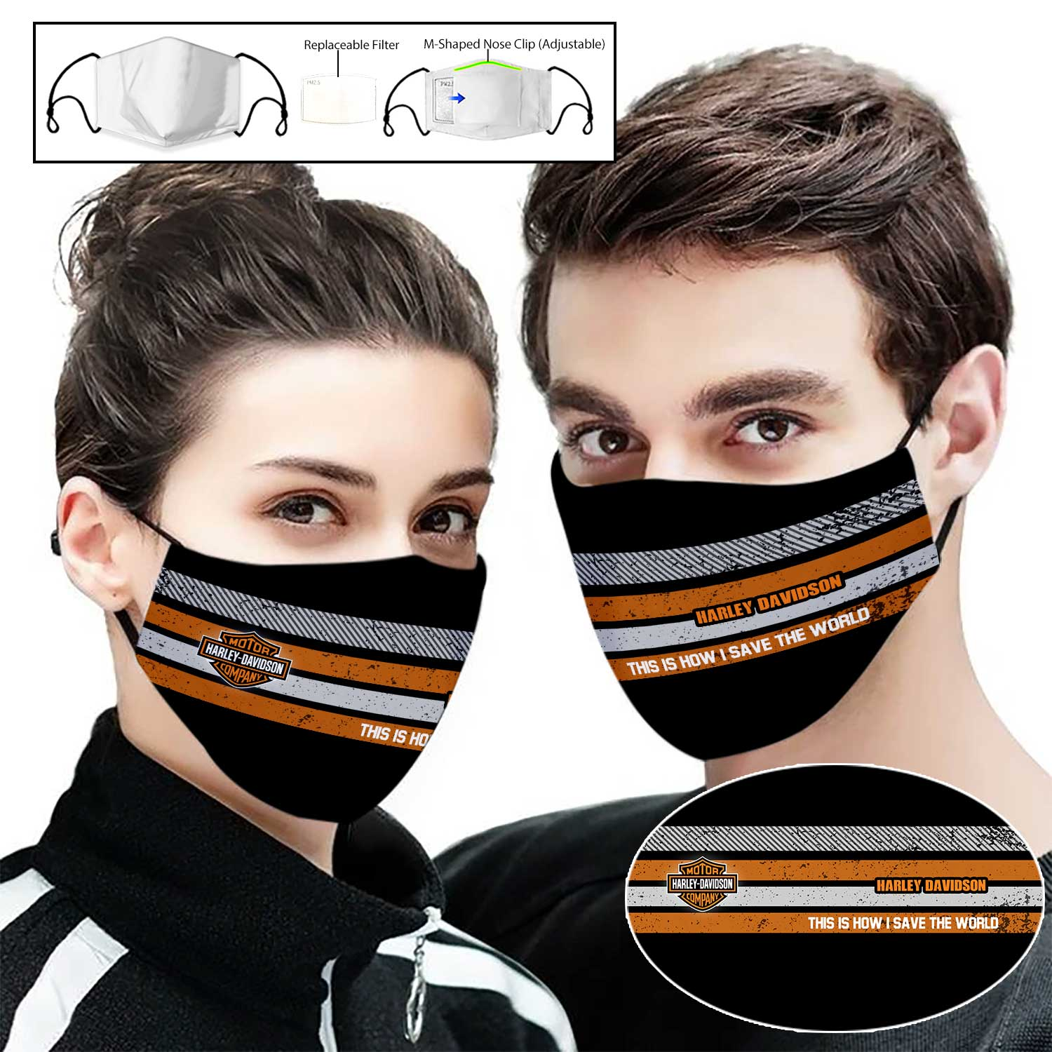 Harley davidson this is how i save the world full printing face mask 2
