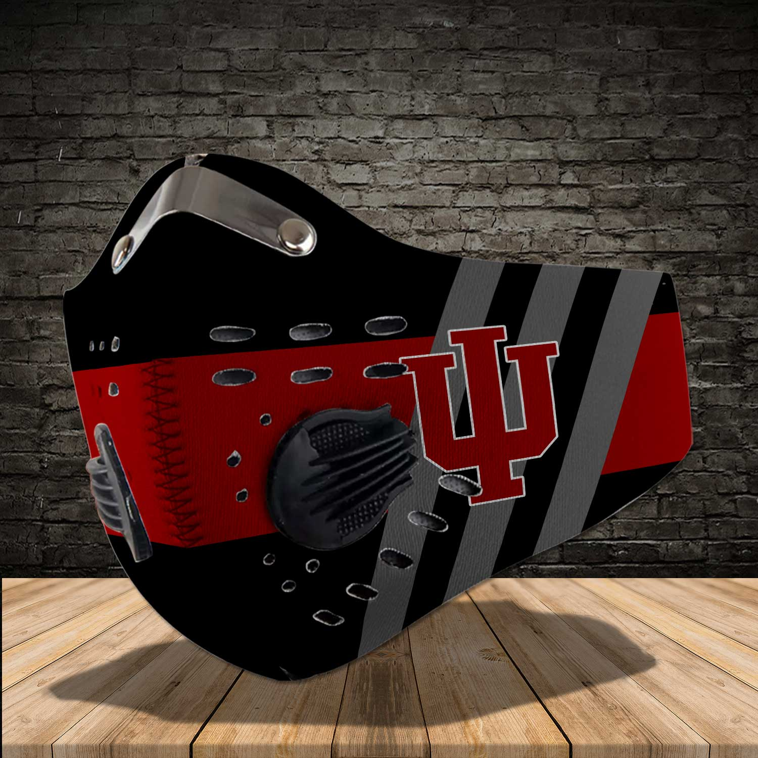 Indiana hoosiers men's basketball carbon filter face mask 1