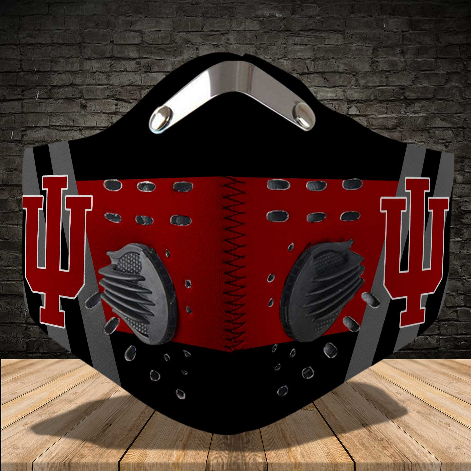 Indiana hoosiers men's basketball carbon filter face mask 3