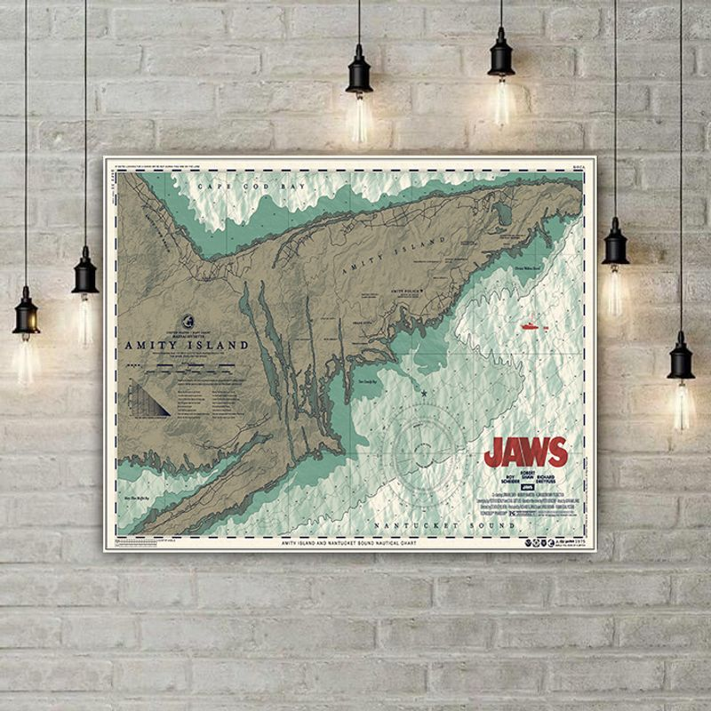 Jaws amity island map unframed poster 1