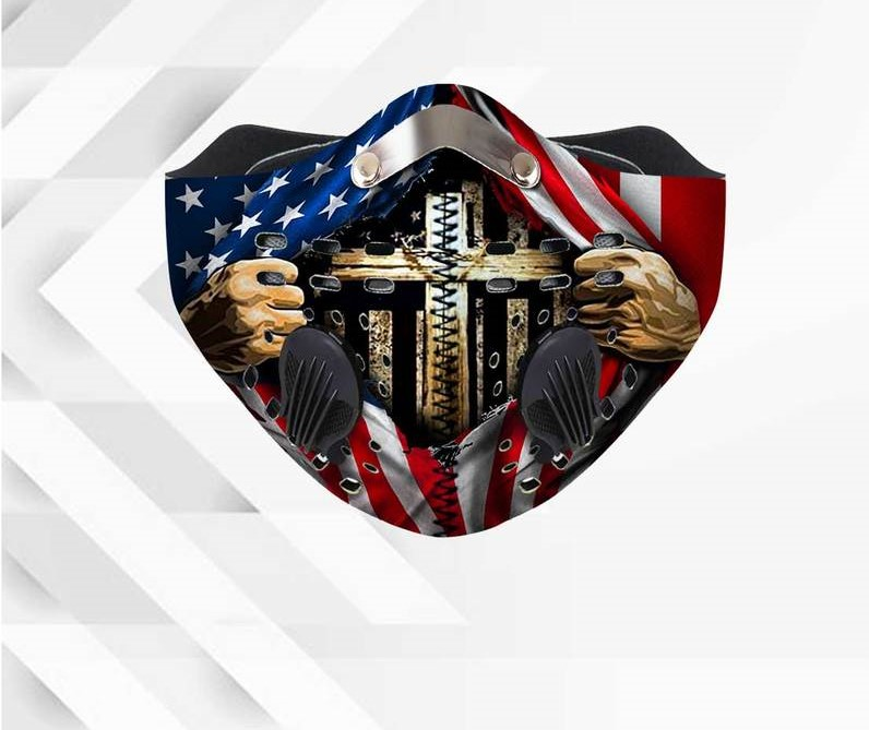 Jesus american flag anti pollution filter activated carbon face mask 3