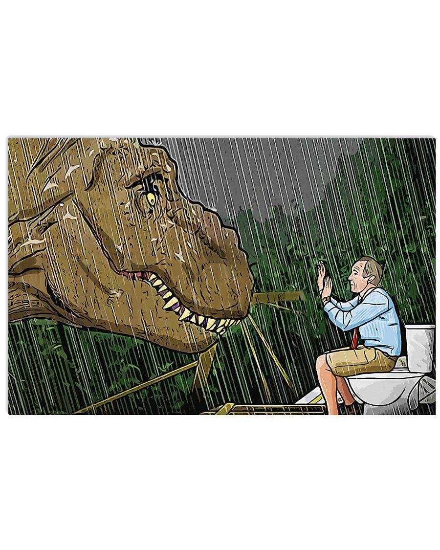 Jurassic park t-rex toilet scene cartoon poster 1