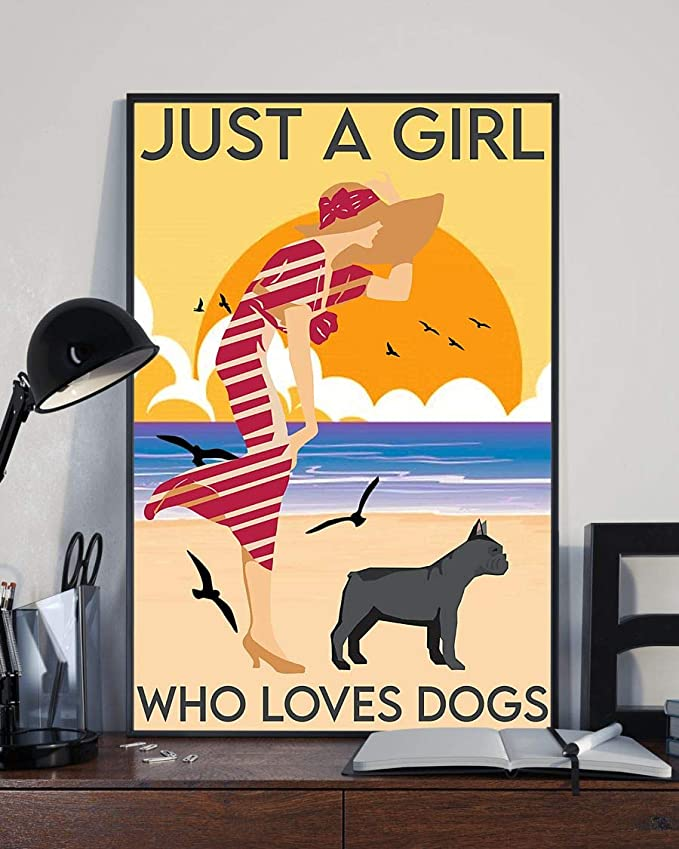 Just a girl who loves dogs beach girl with french bulldog poster 4